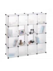 Jago24 Abhy 16 fakkos mobil gardrób ruhásszekrény áttetsző fehér
