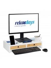 Ahit monitor tartó asztali állvány fehér 2 fiókkal XL