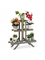 Alba lépcsős virágállvány (3 szintes) szürke