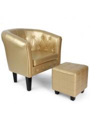 Amy Chesterfield stílusú fotel puffal arany