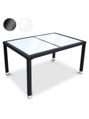 Butia polyrattan kerti asztal fehér üveglappal