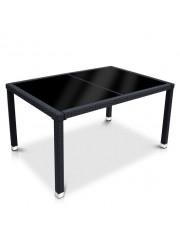Butia polyrattan kerti asztal fekete üveglappal
