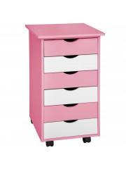 Diego gyermek gurulós komód,fiókos szekrény rózsaszín