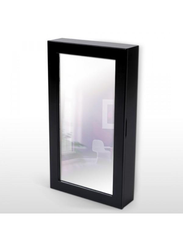 Fali ékszertartó tükrös szekrény fekete L - Ékszerszekrény és ...