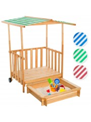 Gyerek homokozó játszóházzal és napellenzővel