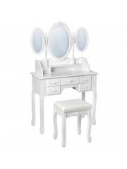 Jago24 Pauline 3 tükrös sminkasztal fésülködőasztal krém 00796