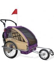 Kerékpár utánfutó, gyerekszállító babakocsi lila