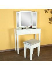 Jago24 Lotty sminkasztal, fésülködőasztal tükörrel és ülőkével fehér 00610
