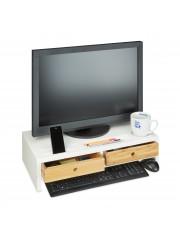 Monitor tartó asztali állvány fehér 2 fiókkal