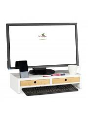 Monitor tartó asztali állvány fehér 2 fiókkal II