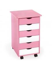 Alfonz görgőlábas gyermek komód rózsaszín
