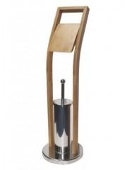 Jago24 Pante bambusz Wc kefe és paírtartó állvány 00775