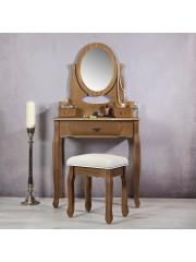 Shabby sminkasztal, fésülködő asztal tükörrel és ülőkével
