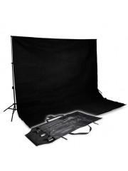 Stúdió háttérvászon szett 3x3m fekete