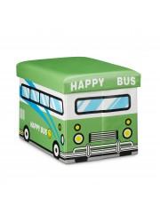 Green buszos gyerek tárolós puff, ülőke